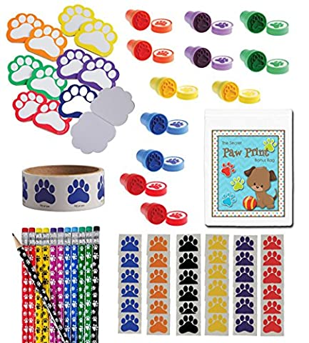 172 Piece Paw Print Theme Birthday Party Favor Bundle Pack for 12 Kids (12 Pawprint Notepads, 12 Stampers, 36 Tattoos, 12 Pencils, 100 - Picture Paw Print