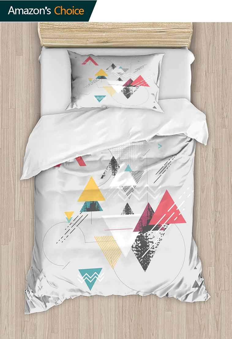 Abstract Printed Quilt Cover and Pillowcase Set, Abstract Geometric Modern Design with Triangle and Typed Detailed Art, Reversible Coverlet, Bedspread, Gifts for Girls Women, 71 W x 79 L Inches