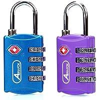 ABRA FOX TSA Approved Lock,2-Pack Luggage Locks,4 Digit Combination Travel Padlocks,Password Locks Blue+Purple 2 Pack