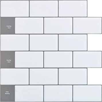 Art3d 12x12 Peel And Stick Backsplash Tile Subway Sticker White For Kitchen 10 Sheet