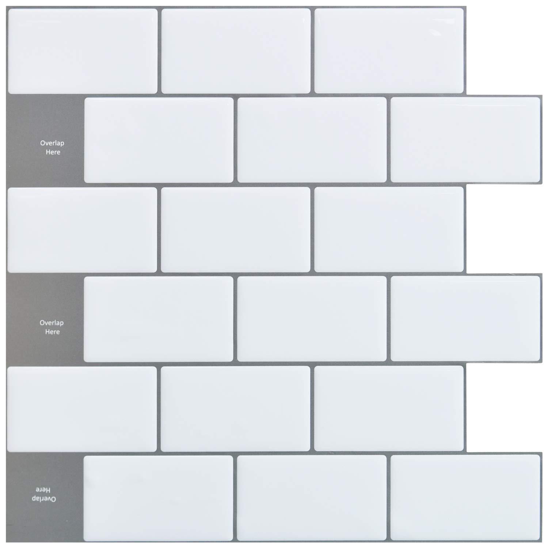 Art3d 12''x12'' Peel and Stick Backsplash Tile Subway Sticker White for Kitchen (10-Sheet) by Art3d