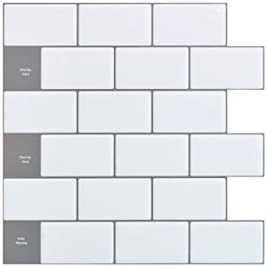 "Art3d 12""x12"" Peel and Stick Backsplash Tile Sticker for Kitchen, White, (10 Sheets)"