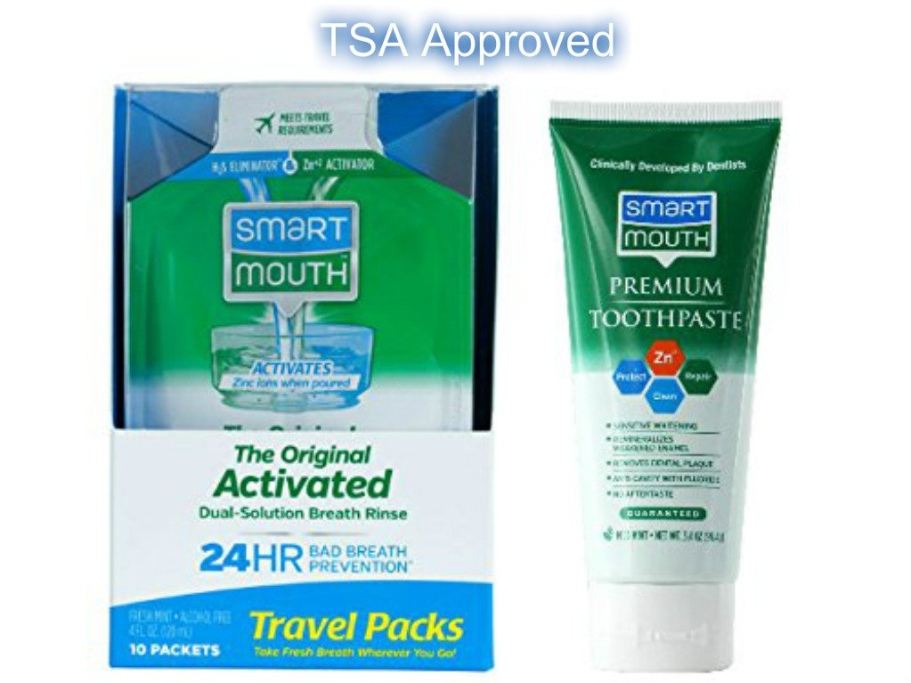 TSA Approved Travel Toothpaste and Oral Rinse, SmartMouth Original Activated Oral Rinse Travel Packs and Travel Size Premium Toothpaste, 3.4 Ounce by SmartMouth (Image #1)