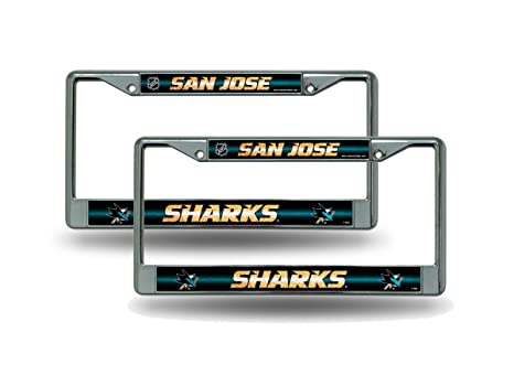 Image Unavailable. Image not available for. Color  Rico San Jose Sharks  Chrome Metal (2) Bling License Plate Frame Set bb2015299eb8