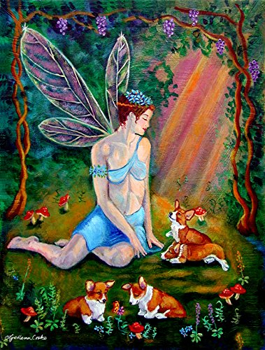 Caroline's Treasures 7295GF Fairy in The Woods with Her Corgis Flag, Small, Multicolor