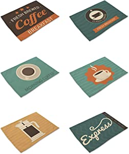 HACASO Cotton Linen Coffee Pattern Placemat Dining Table Placemat Set of 6 for Home Kitchen Cafe