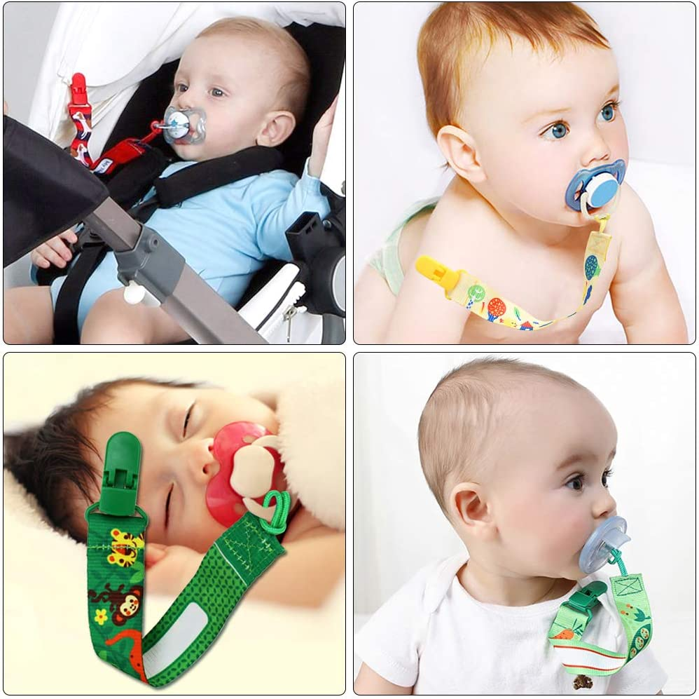 Gobesty Dummy Clips 6 Pcs Baby Pacifier Clips Unisex Soother Chains Safe Pacifier Holder Straps Soother Nipple Holder Dummy Holders Plastic Teething Clips for Newborn Boys and Girls