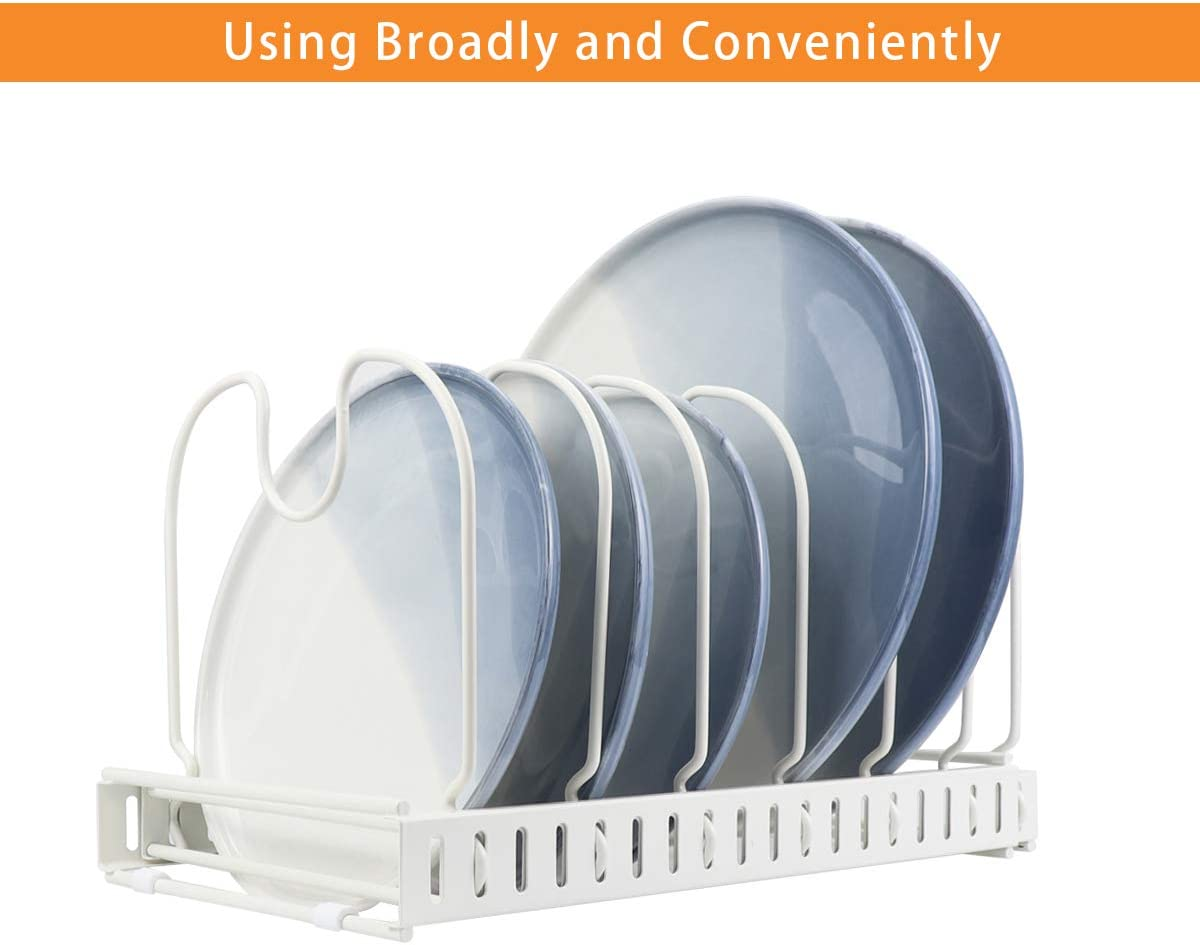 White Total 7 Adjustable Compartments Expandable Pan Pot Lid Organizer Rack,Can Be Extended to 22.25 Kitchen Cabinet Pantry and Bakeware Organizer Rack Holder