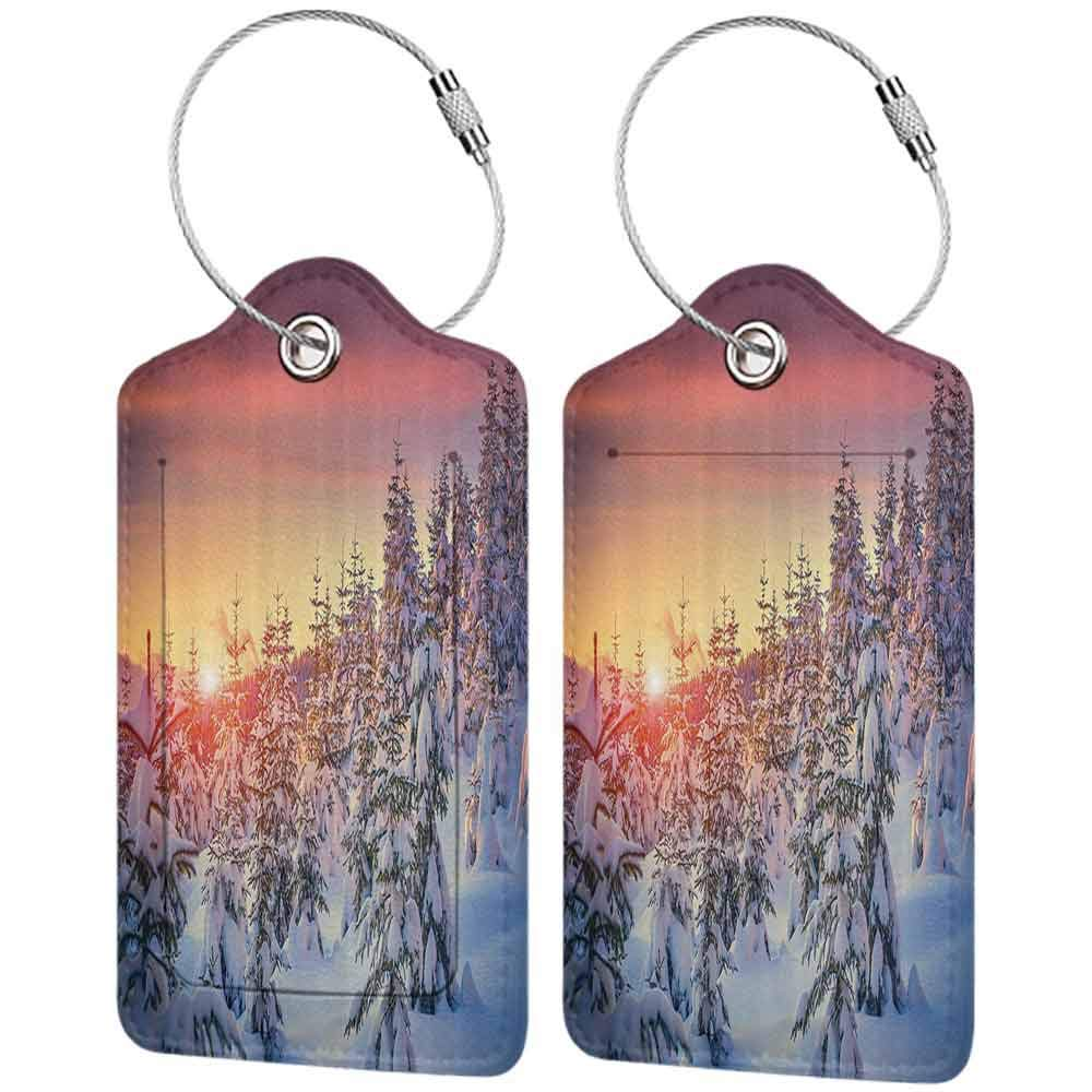 Durable luggage tag Winter Decorations Snowy Landscape at Gloomy Sunrise Light in Mountain Forest Serene Photo Unisex White Red W2.7 x L4.6