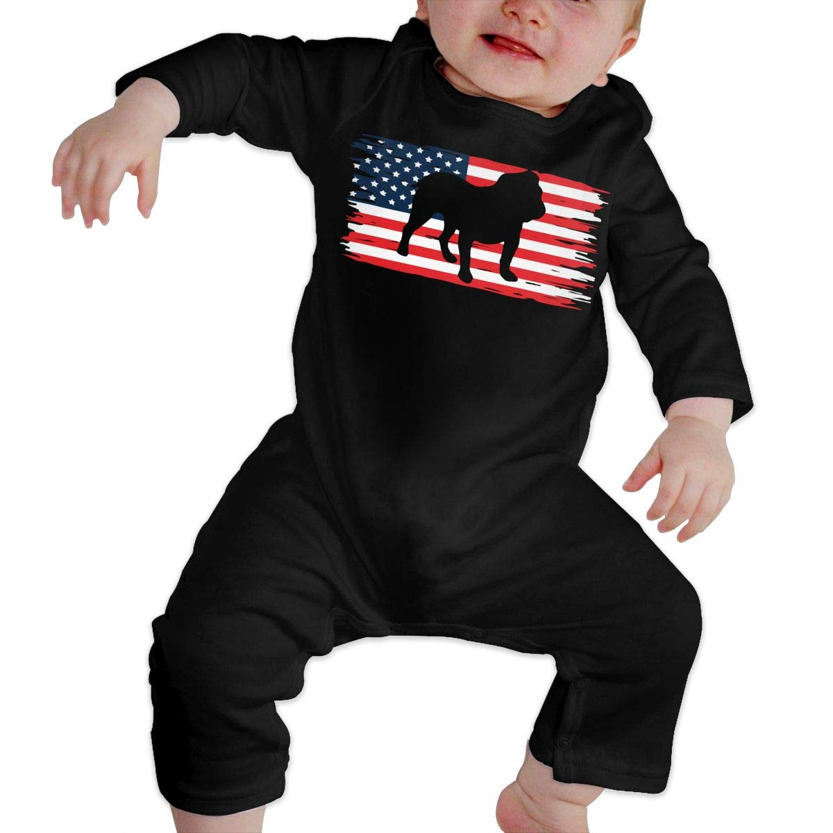 UGFGF-S3 Bulldog America Flag Newborn Kids Long Sleeve Bodysuit Bodysuits
