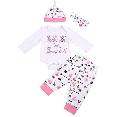 1aaf59f0f1e5 Amazon.com  GRNSHTS Baby Girls 4Pcs Arrow and Heart Clothes Set Long ...