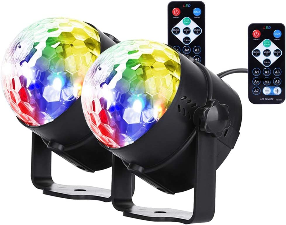 U`King Sound Activated Party Lights with Remote Control RGB LED Strobe DJ Disco Ball Light for Stage Lighting Home Room Dance Floor Birthday Parties