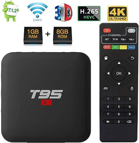 WXJHA Caja de Android, Android 7.1 TV Box Amlogic S905W 1 GB de ...