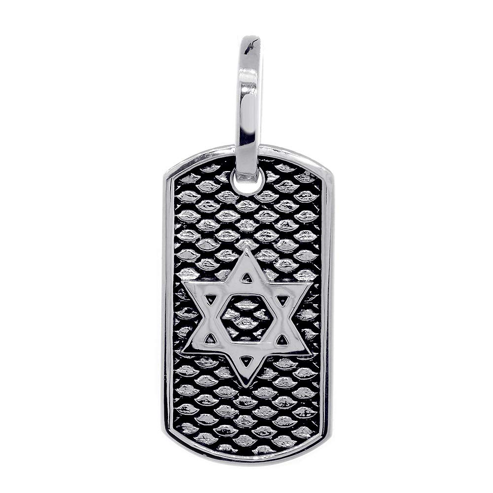31mm Hardcore Metal Snake Skin Star of David Pendant Dog Tag in Sterling Silver