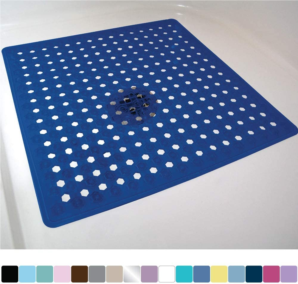 Gorilla Grip Original Patented Bath, Shower, and Tub Mat, 21x21, Machine Washable, Antibacterial, BPA, Latex, Phthalate Free, Square Bathroom Mats with Drain Holes, Suction Cups, Navy Blue