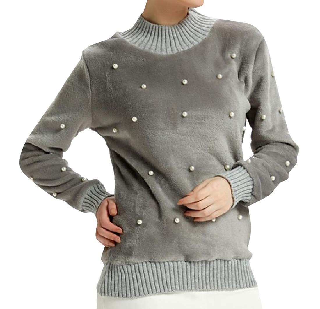 YUNY Women Boyfriend Pleuche Relaxed-Fit Studded Jersey Pullover 5 M