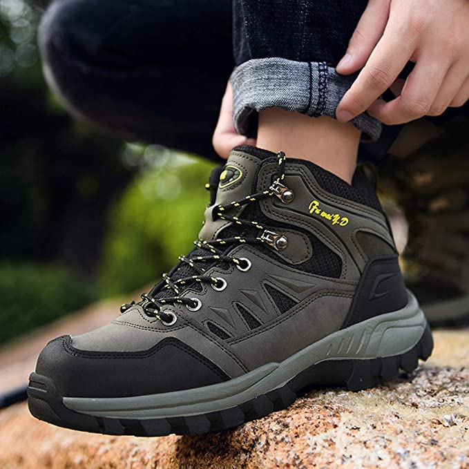 Jentouzz Mens Winter Boots Lace-up Warm High-Top Outdoor Boot Casual Durable Waterproof Hiking Shoes
