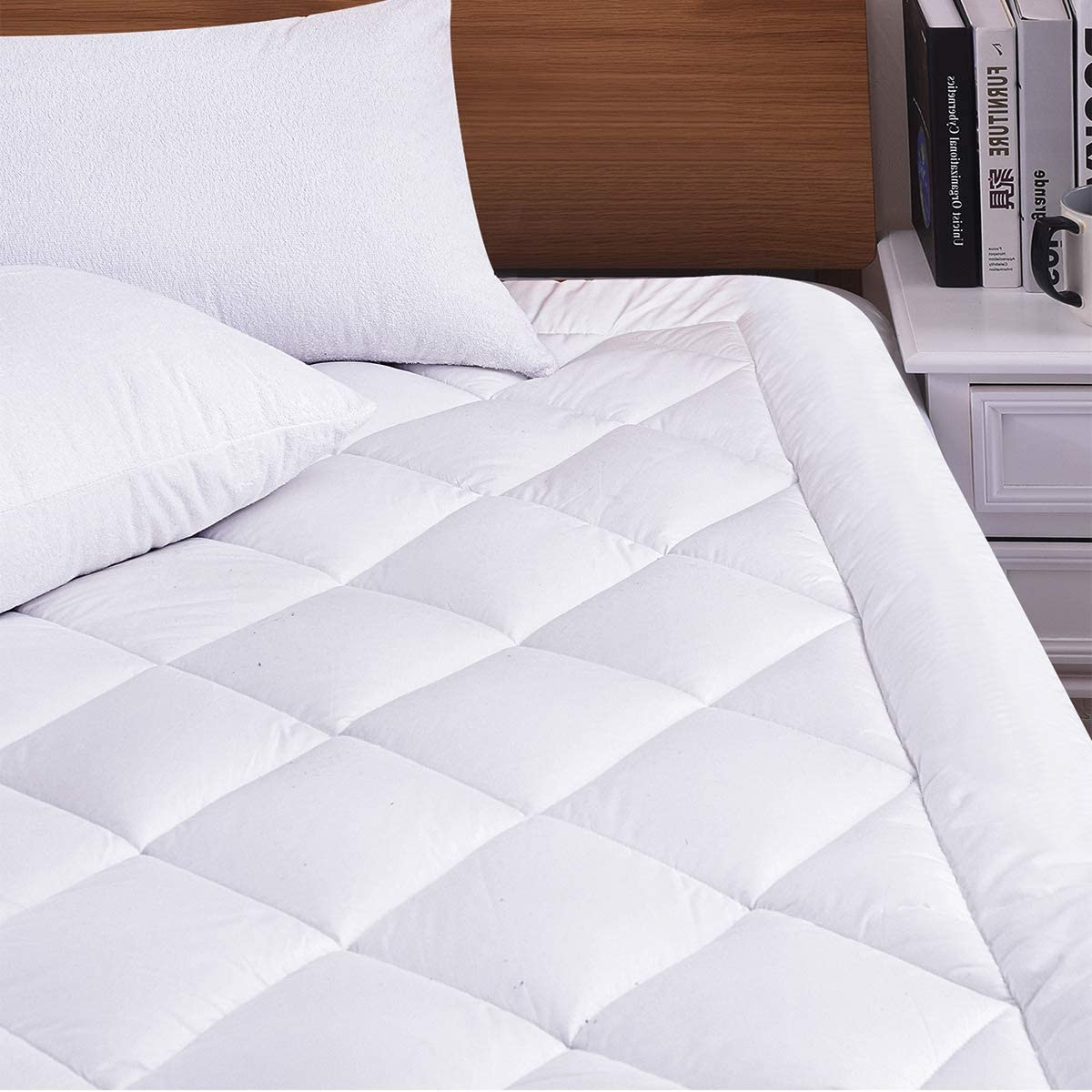 Hokly Queen Size Mattress Pad Hypoallergenic Cover Cooling 300TC 100% Cotton Bed Topper with Snow Down Alternative Filler (Fit to 8-21 Inches Thickness Mattress)