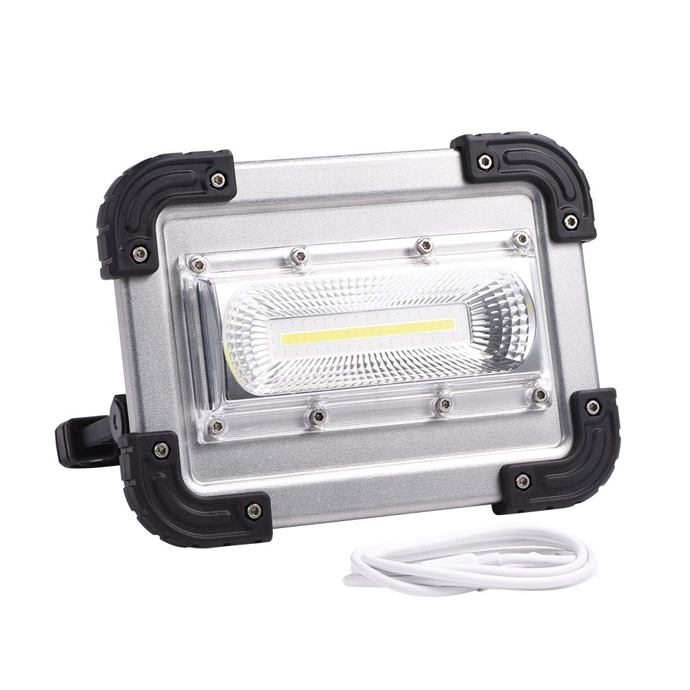 LED COB Work Light, Portable 3.7V 30W Four Modes USB Rechargeable Security Work Emergency Garden Outdoor Flood Spot Light Lamp for Billboards Camping Hiking Car Repairing Workshop Construction Site Zerodis