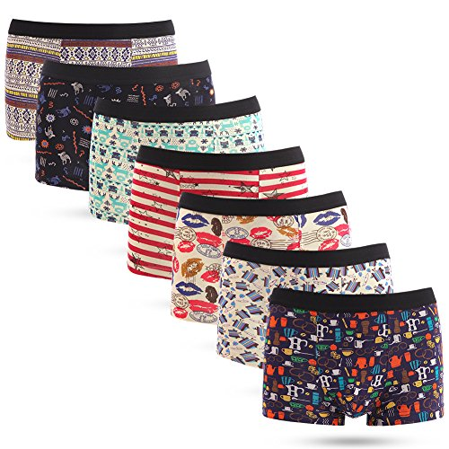 Innersy Men's Modal Stretchy Light Soft Graffiti Print Sexy 7 Pack Trunks Boxer Brief M (Ancient Greek Outfits)