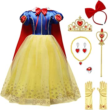 OwlFay Blancanieves Disfraz con Capa para Niñas Snow White ...