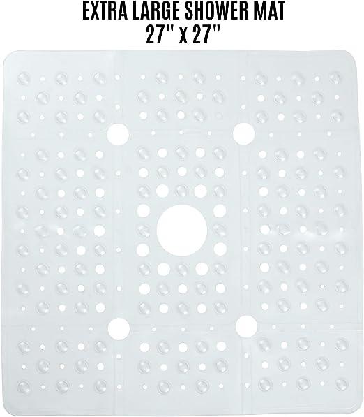 Non Slip Large Square Bath Mat for Bathtub Suction Cup Skid Vive Shower Mat