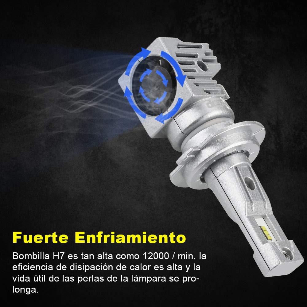 Rovtop Bombilla H7 Hal/ógenas HID LED Kit de Conversi/ón 10000LM ZES 9V-36V Bombillas Hal/ógenas HID Impermeable IP68 2 Pcs Faros Delanteros para Coche Xenon Blancas 60W
