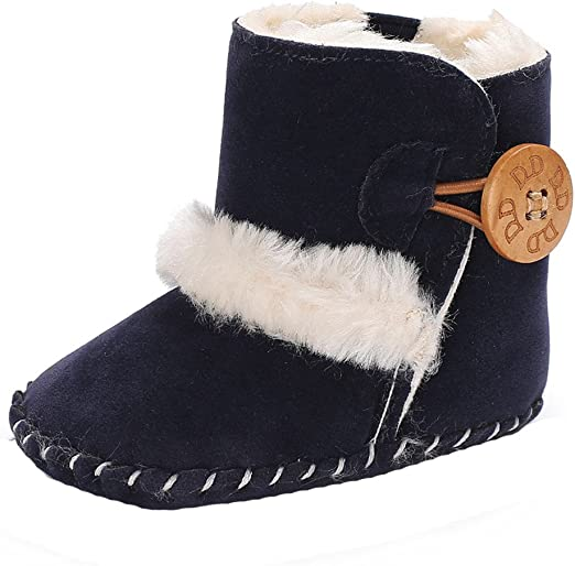Lurryly❤2019 Snow Boots Warm Shoes Cute Winter Baby Girls Boys Soft Crib Shoes 0-18 M