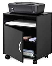 FITUEYES Printer Stand with Adjustable Storage Mobile Black Wood Work Cart on Wheels PS404801WB