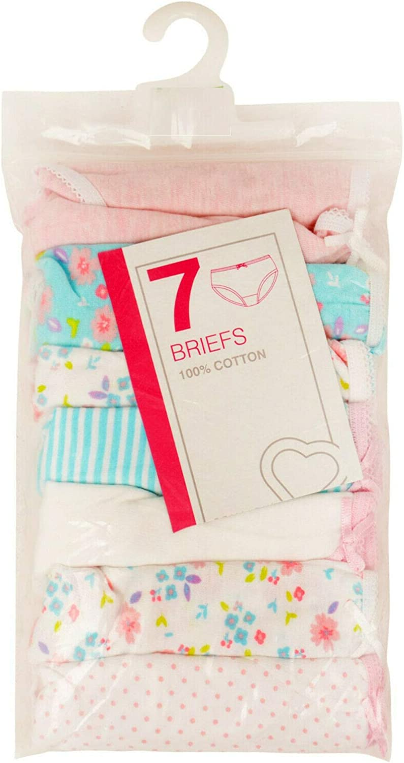 Paradise Girls 7 Pack Briefs Knickers EX UK Store Cotton Pants 2-13Y Colours//Whites New