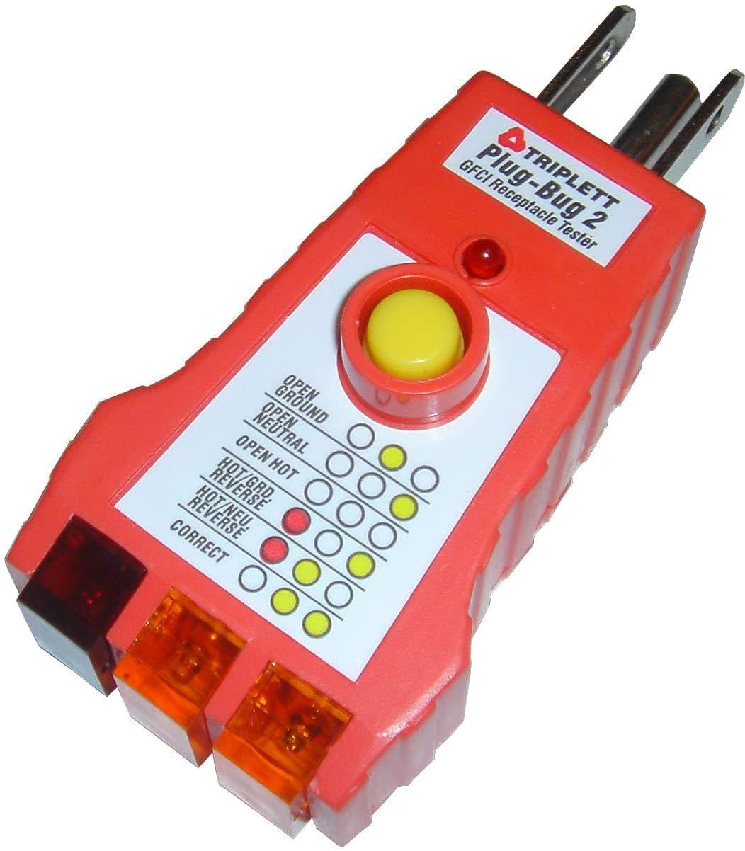 Triplett Plug-Bug 2 GFCI Outlet Tester - Works on 110 ~ 125 VAC Receptacles (9610)