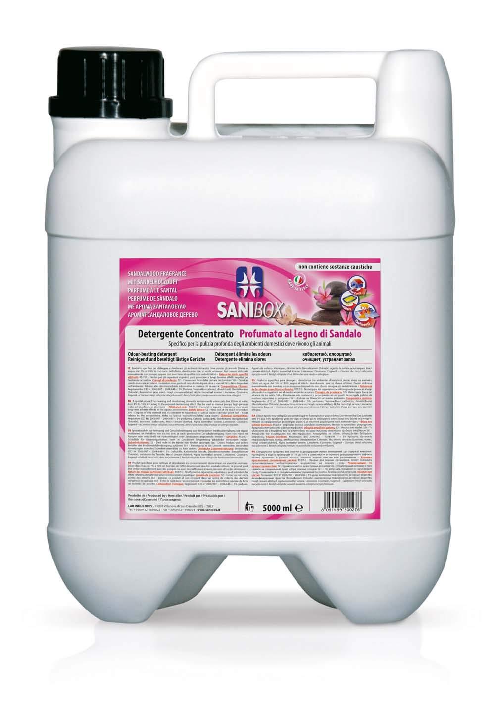Sanibox da 5 litri legno di sandalo pulizia pavimenti lab industries