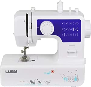 Luby Sewing Machine for Beginners with 12 Stitches & Free Arm, Portable & Lightweight