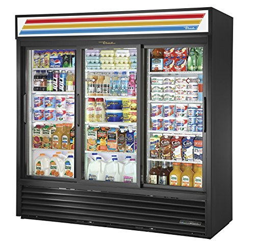 True GDM-69-HC-LD Sliding GLASS Door Merchandiser REFRIGERATOR with Hydrocarbon Refrigerant and LED Lighting, Holds 33 degree F to 38 degree F, 78.625' Height, 29.625' width, 78.125' Length