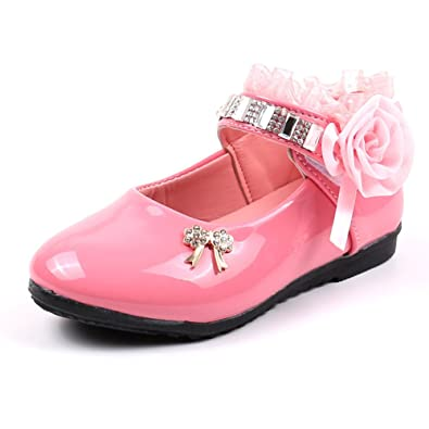 b7bac77b5102 Tueenhuge Little Girls Wedding Shoes Baby Girls Flower Princess PU Leather  Party Shoes (Pink