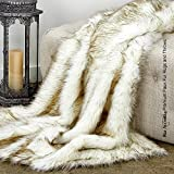Sumptuous Luxury Faux Fur Throw Blanket - Designer Quality - Fur Accents - Made in America (58''x80'', Tawny Arctic Fox)