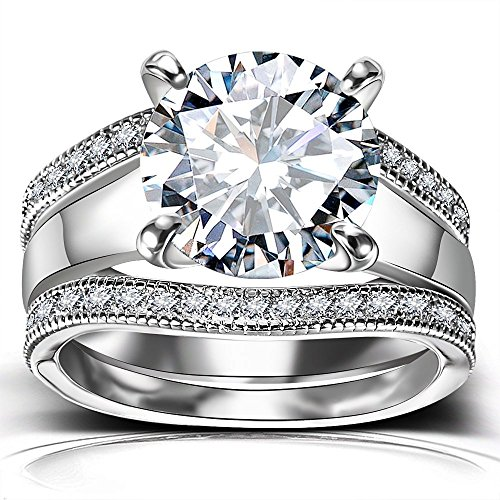 (Platinum Plated Bridal Set - Round Cut Cubic Zirconia Rings Women Engagement Ring Set with Wedding)