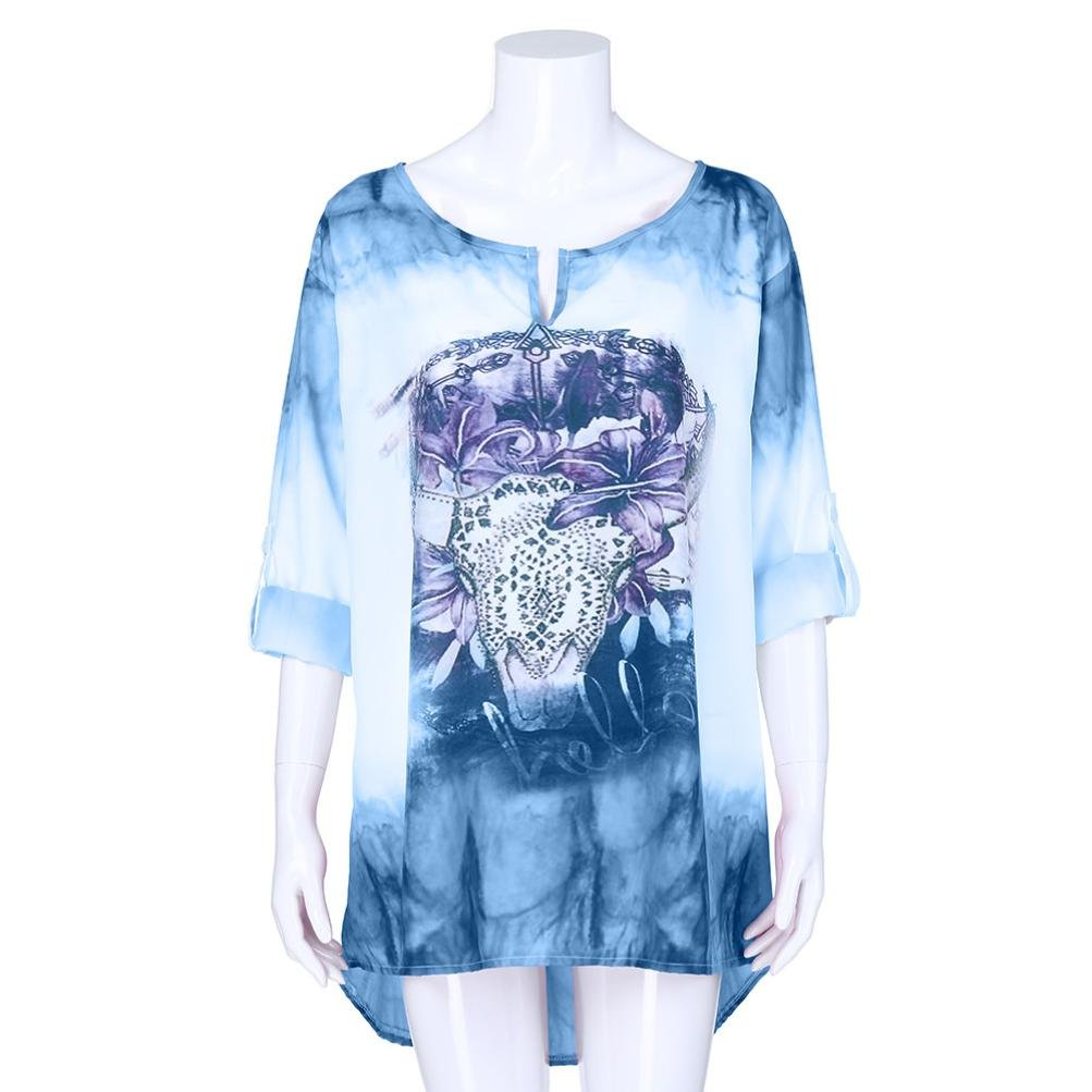Women Tops Blouse V-Neck Long Sleeves Printing Plus Size Loose Cotton Autumn