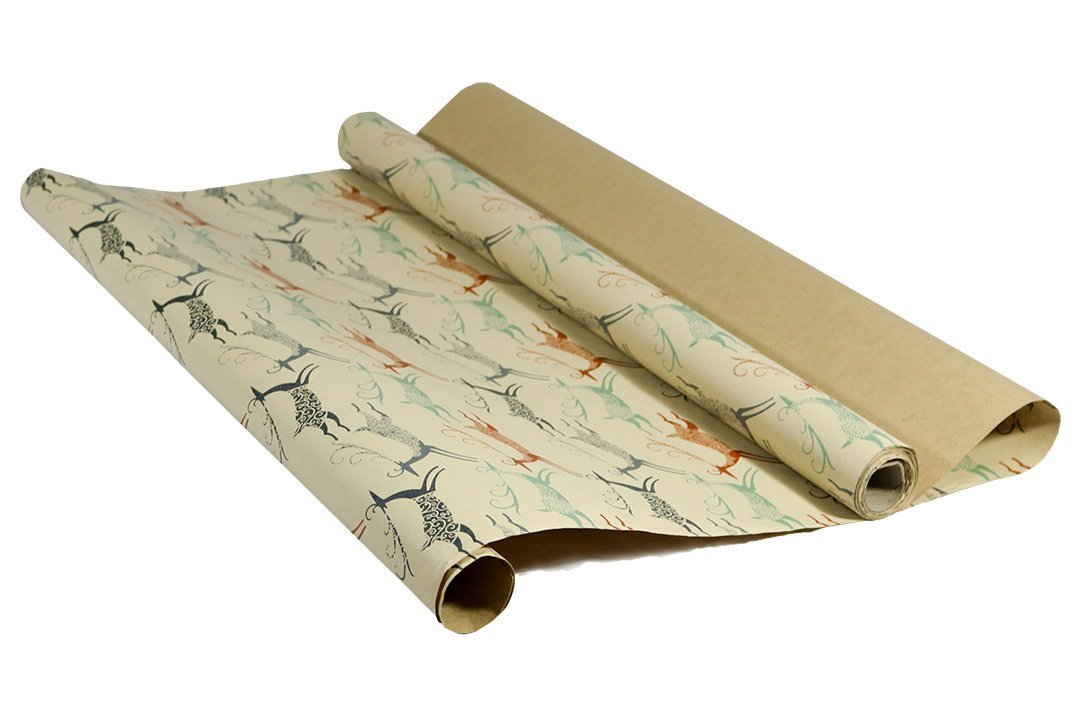 Printed Kraft Christmas Wrapping Paper (Elegant Snow Birds-Deer-Ice Flowers on Brown Kraft) 30\