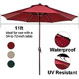 Abba Patio Outdoor Patio Umbrella 11-Feet Aluminum Market Table Umbrella with Push Button Tilt and Crank, Red