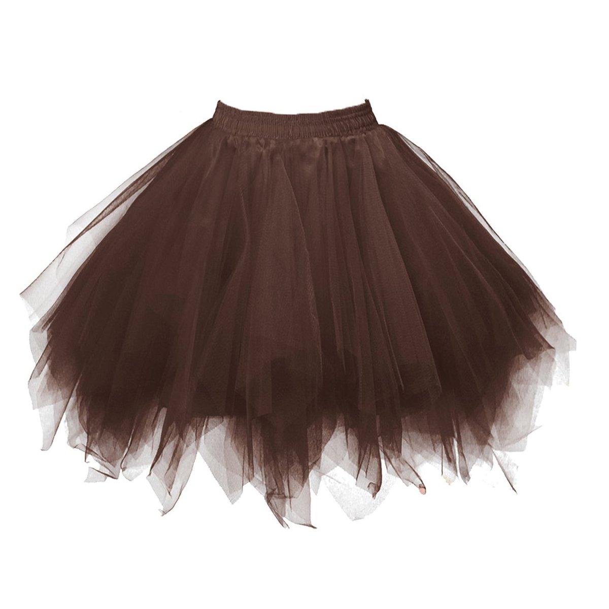 URVIP 80's Party Skirt Lolita Petticoat Vibrant Full Crinoline Layers Tulle Tutu U1806F1