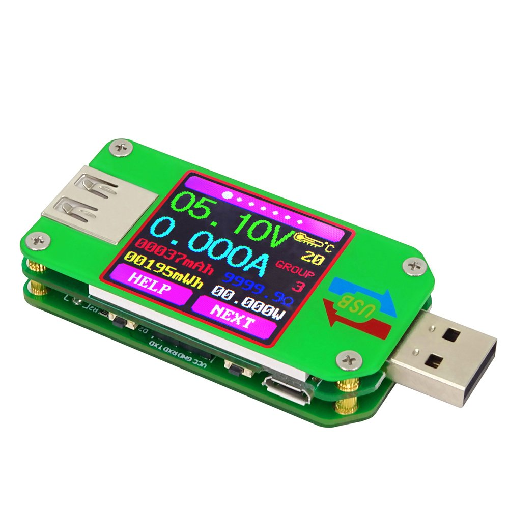KKmoon USB Digital Power Meter Tester Multimeter Current and Voltage Monitor Color LCD Display Tester Voltage Current Meter Voltmeter Ammeter UM24C Communication Version