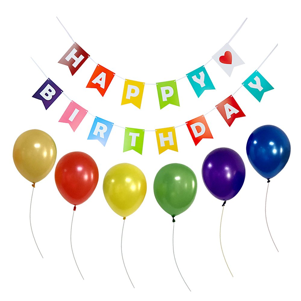 YoTruth Happy Birthday Banner Paper Decorations Set with Colorful Bunting Cut Design include Polychromee Balloons