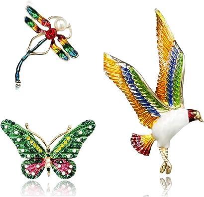 CUFTS Dragonfly Enamel Brooch Pin Crystal Rhinestone Animal Brooches Jewelry for Women Girls