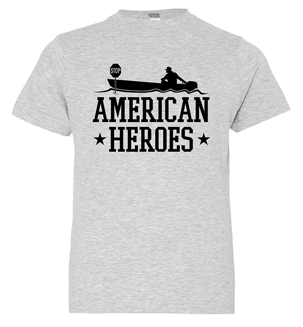 Tenacitee Boys Youth American Heroes T-Shirt Heather Grey Large