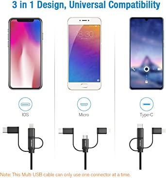 Multi Charger Cable 3 in 1 Charging Cable Universal Charger Cord with Type C//Micro USB Port Compatible with Cell Phone Tablets More SEDSED Star W The Man-Dalorian Multi Charging Cable