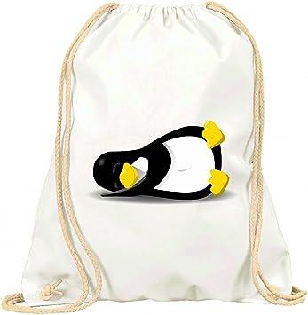 Druckerlebnis24 Turn Bolsa pingüino de Linux de Dormir de Animales de aussetzen de Tux con cordón – 100% algodón de Bolsa con Asas De Mochila de Bolsa de Deporte, Weiß: Amazon.es: Deportes