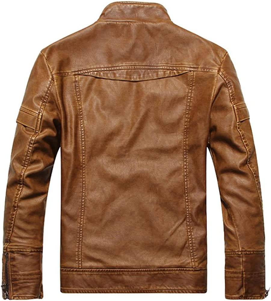 EUROUS Mens Fashion Slim Fit Stand Collar Pu Leather Motorcycle Coat Jacket