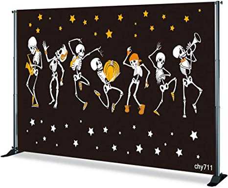 6x6ft,chy704 Levoo Skull Pumpkin Background Banner Photography Studio Cartoon Background Birthday Family Party Halloween Celebration Photography Backdrop Home Decoration