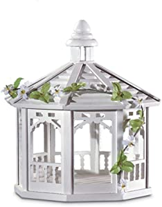 Koehler 30209 10.5 Inch White Gazebo Bird Feeder with Vines